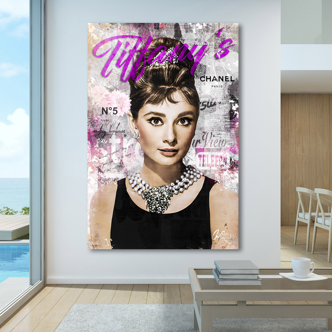 Motiv Audrey Hepburn Plakativ  Pop Art//Malerei//StreetArt//Leinwand//Kunstdruck